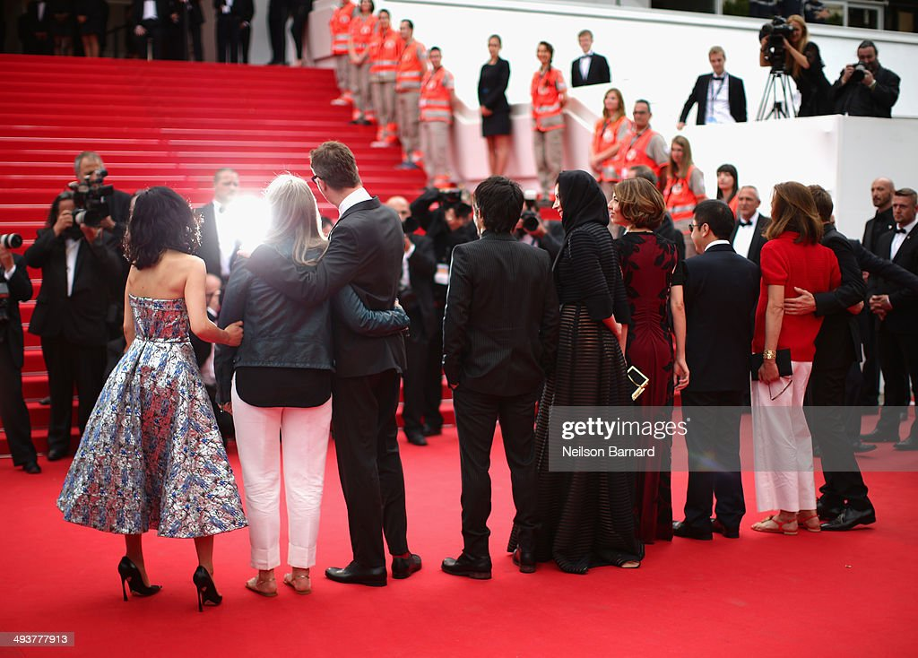Jury members Do-yeon Jeon, Jane Campion, Nicolas Winding Refn, Gael Garcia Bernal, Leila Hatami, Sofia Coppola, Zhangke Jia, Carole Bouquet and Willem Dafoe attend the red carpet for the Palme D'Or winners at the 67th Annual Cannes Film Festival on May 25, 2014 in Cannes, France.