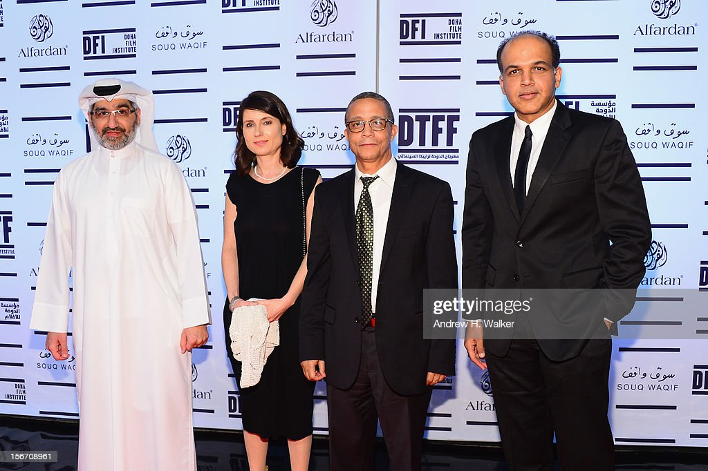 Jury members Dr. Emad Amralla Sultan, Yesim Ustaoglu, Yasmina Khadra and Ashutosh Gowariker attend the 'Silver Linings Playbook' premiere at the Al Mirqab Hotel during the 2012 Doha Tribeca Film Festival on November 19, 2012 in Doha, Qatar.