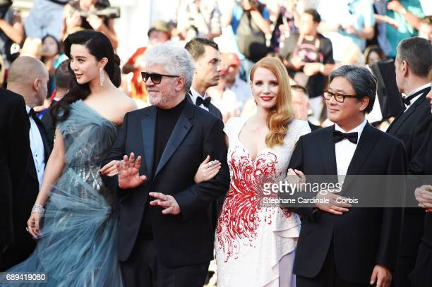 Jury members Fan Bingbing jury president Pedro Almodovar and jury members Jessica Chastain and Park Chanwook attend the Closing Ceremony during the...