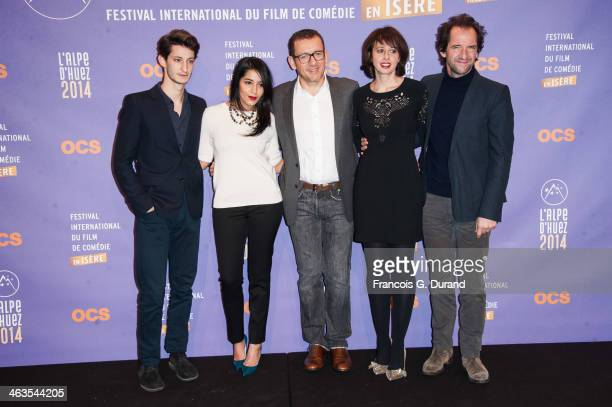 Jury members French actors Pierre Niney Leila Bekhti Dany Boon Valerie Bonneton and Stephane De Groodt attend the closing ceremony of the 17th L'Alpe...