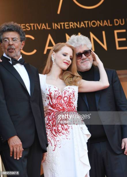 Jury members Gabriel Yared Jessica Chastain President of the jury Pedro Almodovar attend the Closing Ceremony during the 70th annual Cannes Film...