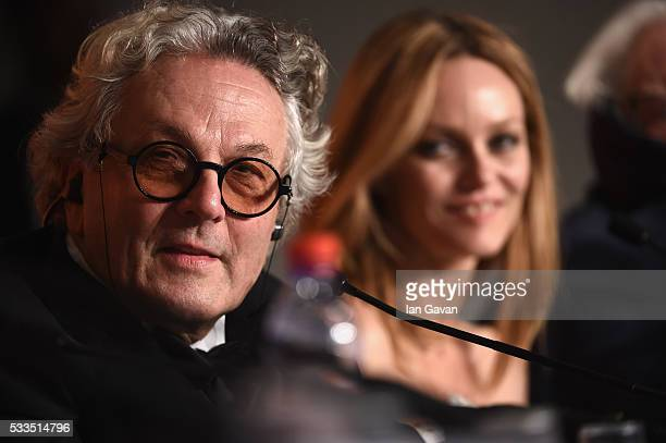 Jury members George Miller and Vanessa Paradis attend the Palme D'Or Winner Press Conference during the 69th annual Cannes Film Festival at the...