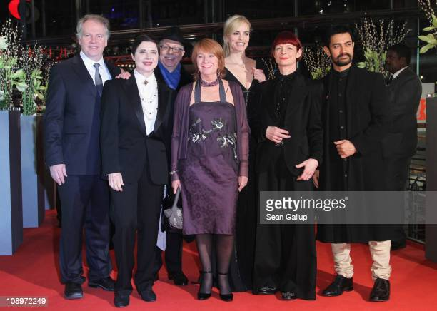 Jury members Guy Maddin Isabella Rossellini festival director Dieter Kosslick Jan Chapman Nina Hoss Sandy Powell and Aamir Khan attend the 'True...