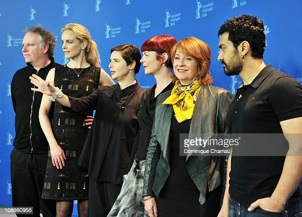 Jury members Guy Maddin Nina Hoss Isabella Rossellini Sandy Powell Jan Chapman and Aamir Khan attend the International Jury Photocall during day one...