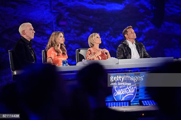 Jury members HP Baxxter Vanessa Mai Michelle and Dieter Bohlen are seen during the first event show of the tv competition 'Deutschland sucht den...