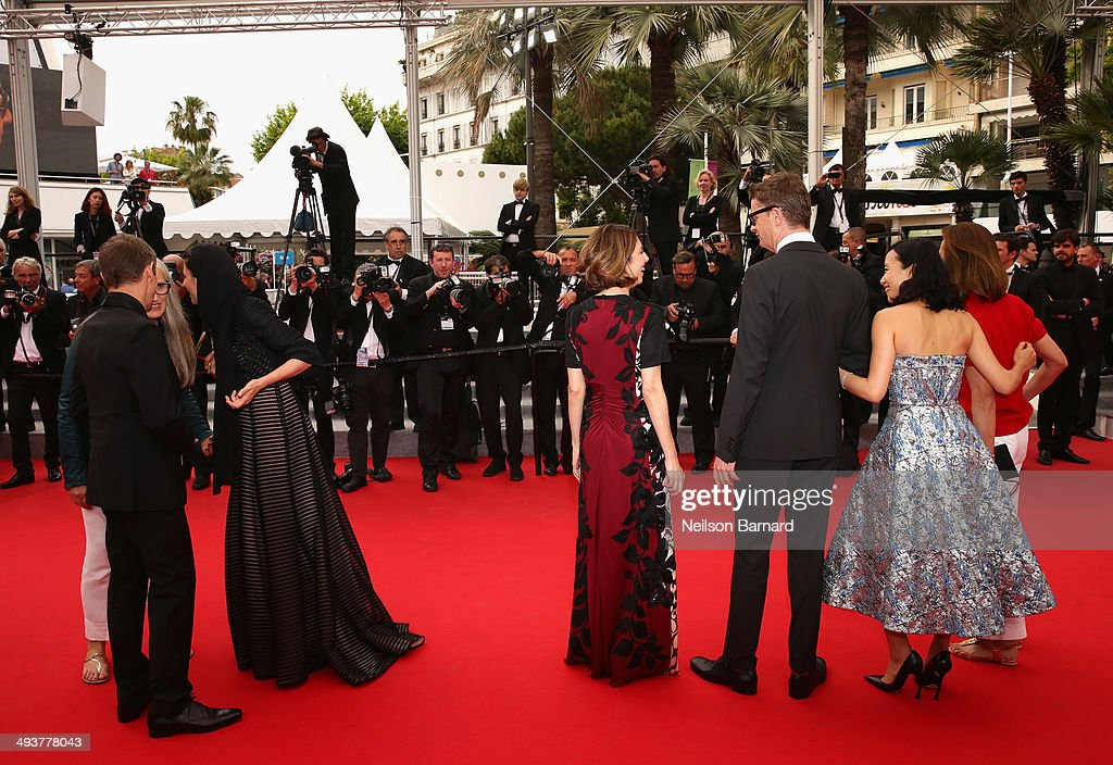 Jury members Jane Campion, Willem Dafoe, Leila Hatami, Sofia Coppola, Nicolas Winding Refn, Do-yeon Jeon and Carole Bouquet attend the red carpet for the Palme D'Or winners at the 67th Annual Cannes Film Festival on May 25, 2014 in Cannes, France.