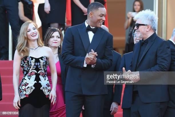 Jury members Jessica Chastain and Will Smith and President of the jury Pedro Almodovar attends the 'Ismael's Ghosts ' screening and Opening Gala...