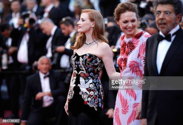 Jury members Jessica Chastain Maren Ade and Gabriel Yared attends the 'Ismael's Ghosts ' screening and Opening Gala during the 70th annual Cannes...