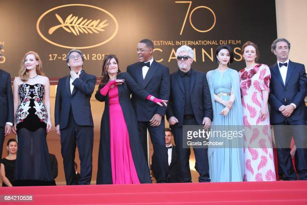 Jury members Jessica Chastain Park Chanwook Agnes Jaoui and Will Smith President of the jury Pedro Almodovar and jury members Fan Bingbing Maren Ade...