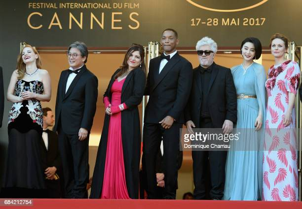 Jury members Jessica Chastain Park Chanwook Agnes Jaoui and Will Smith President of the jury Pedro Almodovar and jury members Fan Bingbing and Maren...