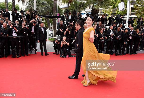 Jury members Jia Zhangke and his wife Chinese actress Zhao Tao attend 'The Search' Premiere at the 67th Annual Cannes Film Festival on May 21 2014 in...