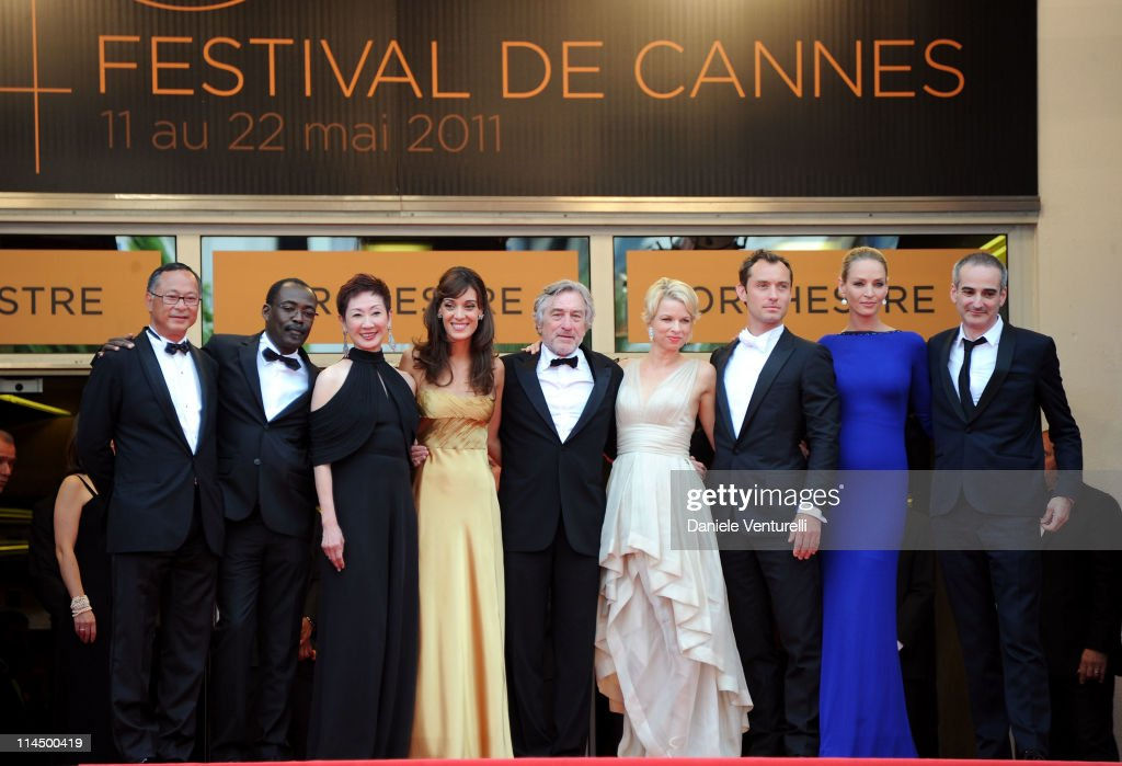 Jury Members Johnnie To, Mahamat-Saleh Haroun, Nansun Shi, Martina Gusman, Jury President Robert De Niro, Linn Ullmann, Jude Law, Uma Thurman and Olivier Assayas attend the 'Les Bien-Aimes' Premiere and Closing Ceremony during the 64th Annual Cannes Film Festival at the Palais des Festivals on May 22, 2011 in Cannes, France.