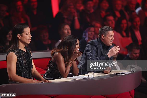 Jury members Jorge Gonzalez Motsi Mabuse and Joachim Llambi are seen on stage during the 1st show of the television competition 'Let's Dance' on...