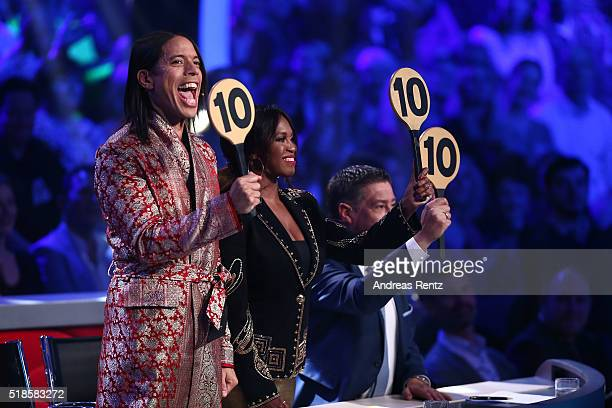 Jury members Jorge Gonzalez Motsi Mabuse and Joachim Llambi are seen during the 3rd show of the television competition 'Let's Dance' on April 1 2016...