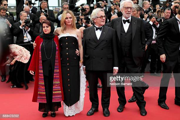 Jury members Katayoon Shahabi Vanessa Paradis George Miller and Donald Sutherland attend the closing ceremony of the 69th annual Cannes Film Festival...