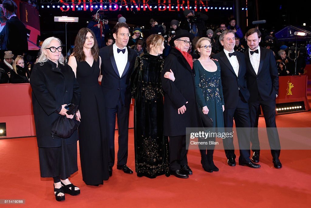 Jury members Lars Eidinger, Nick James, Meryl Streep, festival president Dieter Kosslick, jury members Alba Rohrwacher, Clive Owen, Malgorzata Szumowska and Brigitte Lacombe attend the closing ceremony of the 66th Berlinale International Film Festival on February 20, 2016 in Berlin, Germany.