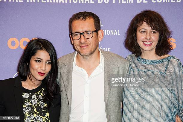 Jury members Leila Bekhti Dany Boon and Valerie Bonneton pose before the opening ceremony of the 17th L'Alpe D'Huez International Comedy Film...