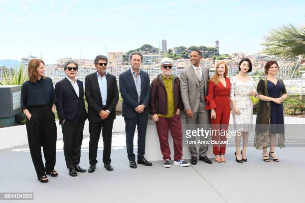 Jury members Maren Ade Park Chanwook Gabriel Yared and Paolo Sorrentino President of the jury Pedro Almodovar and jury members Will Smith Jessica...