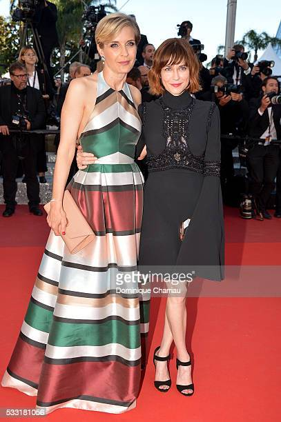 Jury members Melita Toscan du Plantier and MarieJosee Croze attend the 'Elle' Premiere during the 69th annual Cannes Film Festival at the Palais des...