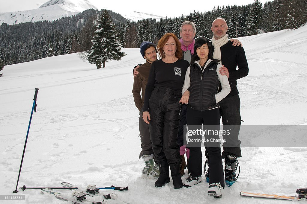 Jury members (L-R) Michael Gregorio, Eva Darlan, Regis Wargnier, Linh-Dan Pham and Franck Leboeuf pose during the 29th International Festival Mont-Blanc D'Humour on March 20, 2013 in Saint-Gervais-les-Bains, France.