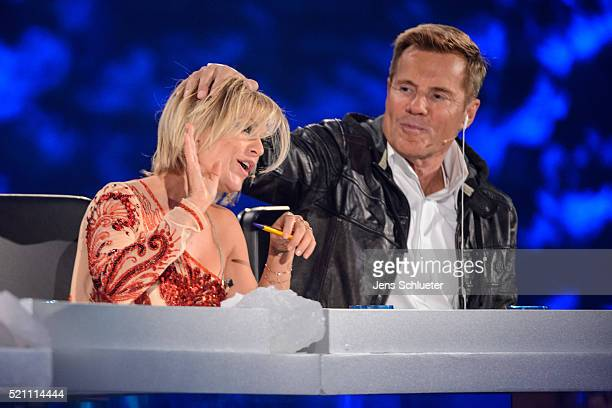 Jury members Michelle and Dieter Bohlen are seen during the first event show of the tv competition 'Deutschland sucht den Superstar' on April 13 2016...