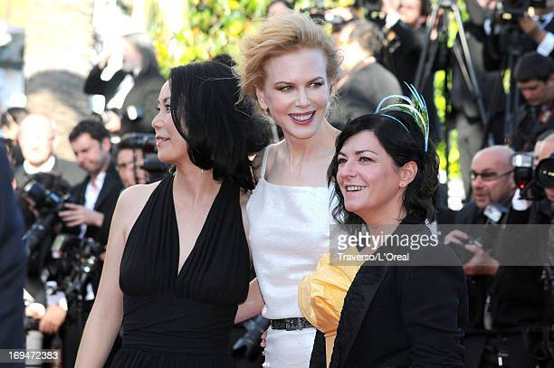 Jury members Naomi Kawase Nicole Kidman and Lynne Ramsay arrive at 'Venus In Fur' Premiere during the 66th Annual Cannes Film Festival at Grand...
