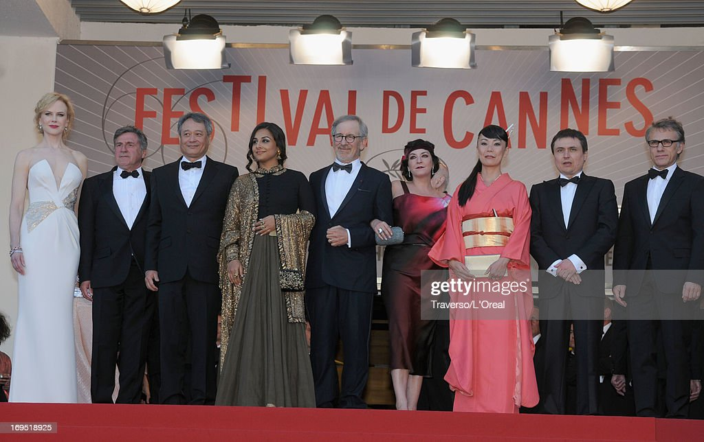 Jury members Nicole Kidman, Daniel Auteuil, Ang Lee, Vidya Balan, President of the Feature Film Jury Steven Spielberg, jury members Lynne Ramsay, Naomi Kawase, Cristian Mungiu and Christoph Waltz attend the 'Zulu' Premiere and Closing Ceremony during the 66th Annual Cannes Film Festival at the Palais des Festivals on May 26, 2013 in Cannes, France.