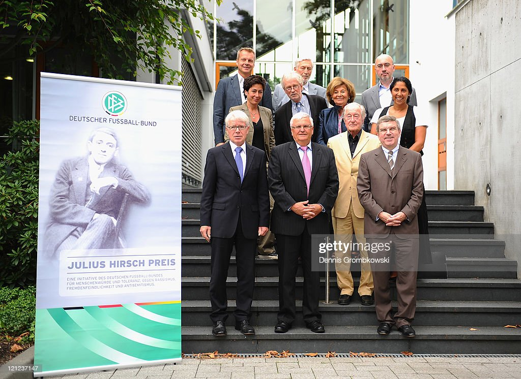 Jury members of the 'Julius Hirsch Award 2011' pose during a conference at the German Football Federation headquarters on August 16, 2011 in Frankfurt am Main, Germany. First row from L -