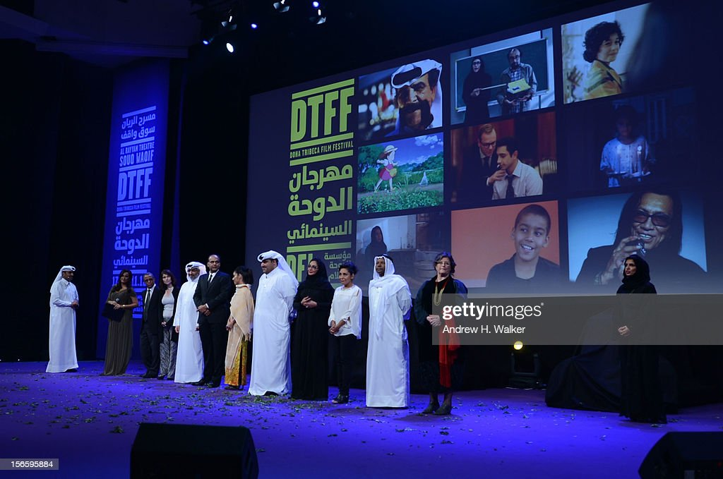 Jury members on stage the opening night ceremony and gala screening of 'The Reluctant Fundamentalist' during the 2012 Doha Tribeca Film Festival at Al Mirqab Hotel on November 17, 2012 in Doha, Qatar.