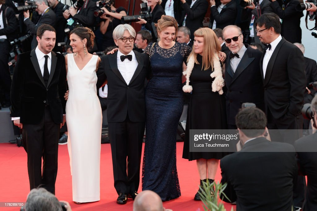 Jury members Pablo Larrain, Virginie Ledoyen, Ryuichi Sakamoto, Martina Gedek, Andrea Arnold, Renato Berta, Jiang Wen attend 'Gravity' premiere and Opening Ceremony during The 70th Venice International Film Festival at Sala Grande on August 28, 2013 in Venice, Italy.