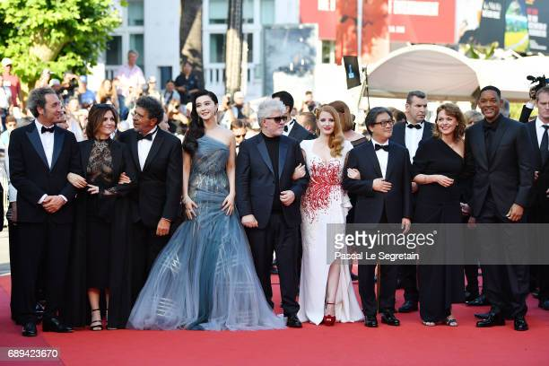 Jury members Paolo Sorrentino Agnes Jaoui Gabriel Yared Fan Bingbing President of the jury Pedro Almodovar jury members Jessica Chastain Park...