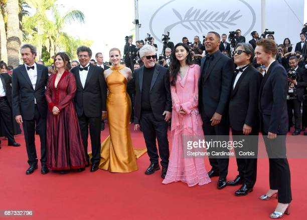 Jury members Paolo Sorrentino Agnes Jaoui Gabriel Yared Jessica Chastain president of the jury Pedro Almodovar and jury members Fan Bingbing Will...