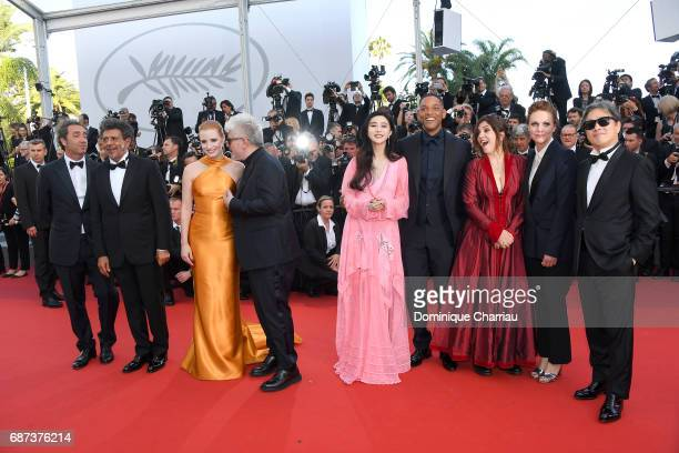 Jury members Paolo Sorrentino Gabriel Yared and Jessica Chastain President of the jury Pedro Almodovar and jury members Fan Bingbing Will Smith Agnes...