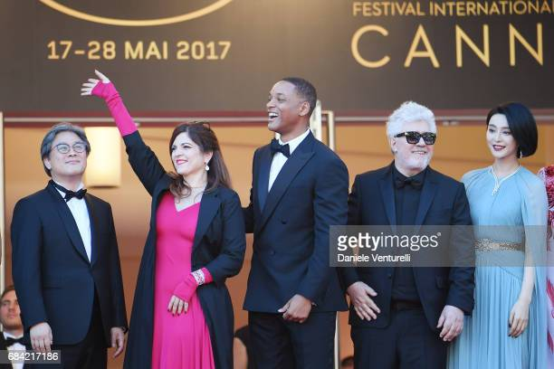 Jury members Park Chanwook Agnes Jaoui and Will Smith President of the jury Pedro Almodovar and jury member Fan Bingbing attend the 'Ismael's Ghosts...