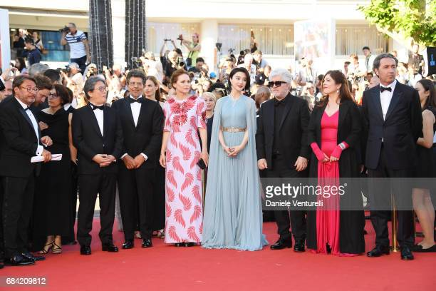Jury members Park Chanwook Gabriel Yared Maren Ade and Fan Bingbing President of the jury Pedro Almodovar and jury members Agnes Jaoui and Paolo...