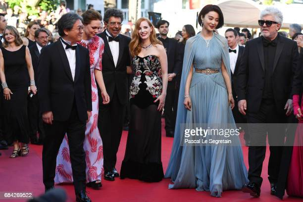 Jury members Park Chanwook Maren Ade Gabriel Yared Jessica Chastain and Fan Bingbing and President of the jury Pedro Almodovar attends the 'Ismael's...