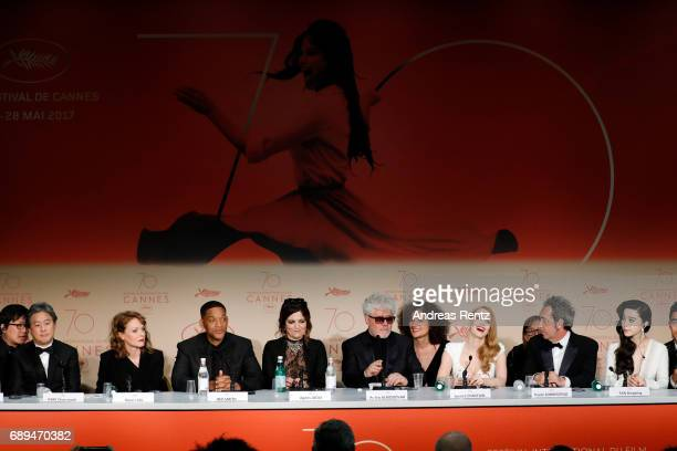 Jury members Park Chanwook Maren Ade Will Smith Agnes Jaoui President of the jury Pedro Almodovar Jessica Chastain Paolo Sorrentino and Fan Bingbing...