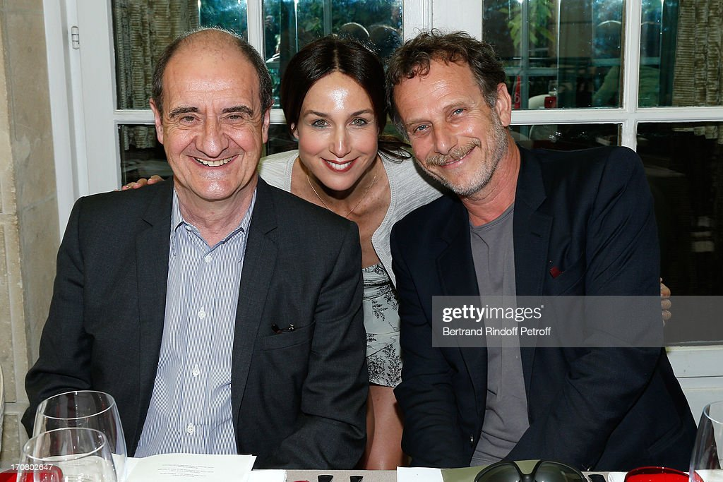 Jury members Pierre Lescure, Elsa Zylberstein and Charles Berling attend the Jury of the Price of the Cultural Personality of the year portrait session at Hotel Pershing Hall on June 18, 2013 in Paris, France.