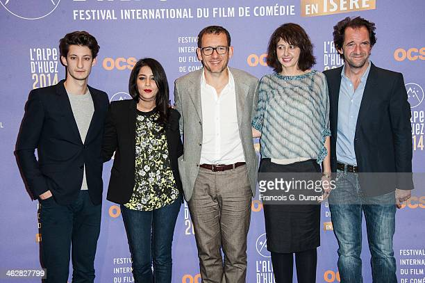 Jury members Pierre Niney Leila Bekhti Dany Boon Valerie Bonneton and Stephane de Groodt pose before the opening ceremony of the 17th L'Alpe D'Huez...