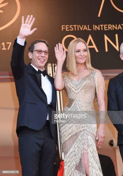 Jury members Reda Kateb Un certain regard president Uma Thurman and jury member Karel Och attend the Closing Ceremony during the 70th annual Cannes...