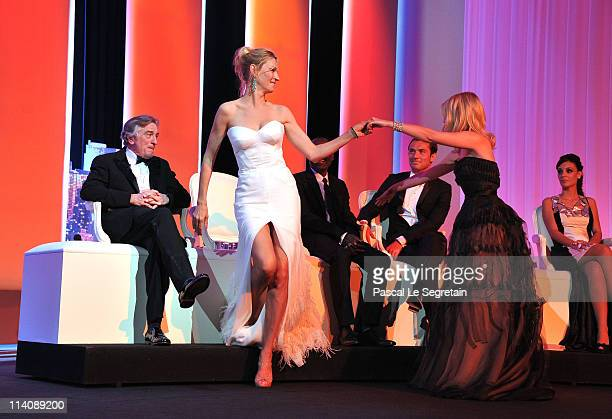 Jury members Robert De Niro Uma Thurman actress Melanie Laurent MahamatSaleh Haroun Jude Law and Martina Gusman onstage at the Opening Ceremony at...