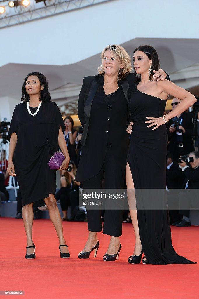 Jury members Runa Islam, Sandra Den Hamer and Nadine Labaki attend the Award Ceremony during the 69th Venice Film Festival at the Palazzo del Cinema on September 8, 2012 in Venice, Italy.