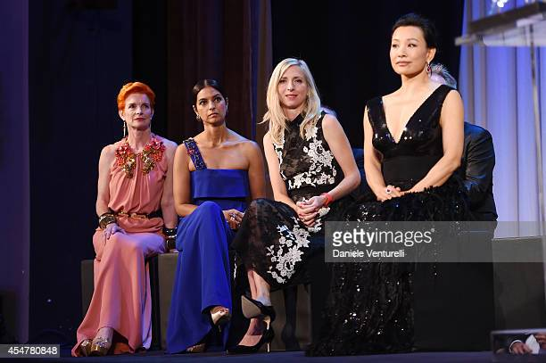 Jury members Sandy Powell Jhumpa Lahiri Jessica Hausner and Joan Chen attend the Closing Ceremony during the 71st Venice Film Festival at Sala Grande...