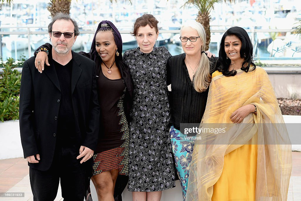 Jury members Semih Kaplanoglu, Maji-Da Abdi, Nicoletta Braschi, Jury president Jane Campion and jury member Nandita Das attend the photocall for the Jury Cinefondation at The 66th Annual Cannes Film Festival on May 22, 2013 in Cannes, France.