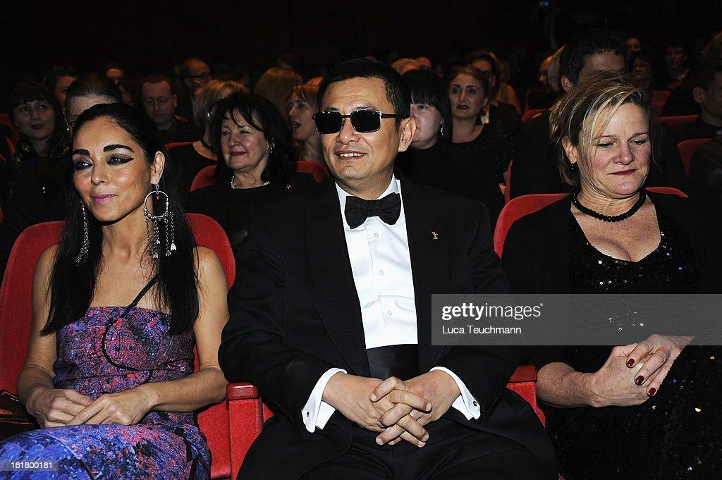 Jury members Shirin Neshat Wong Kar Wai and Ellen Kuras attend the Closing Ceremony during the 63rd Berlinale International Film Festival at...