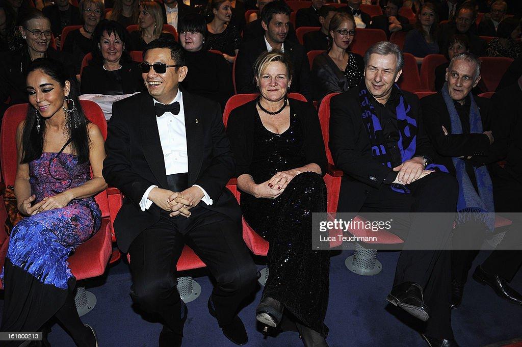 Jury members Shirin Neshat Wong Kar Wai Ellen Kuras Klaus Wowereit and Joern Kubicki attend the Closing Ceremony during the 63rd Berlinale...