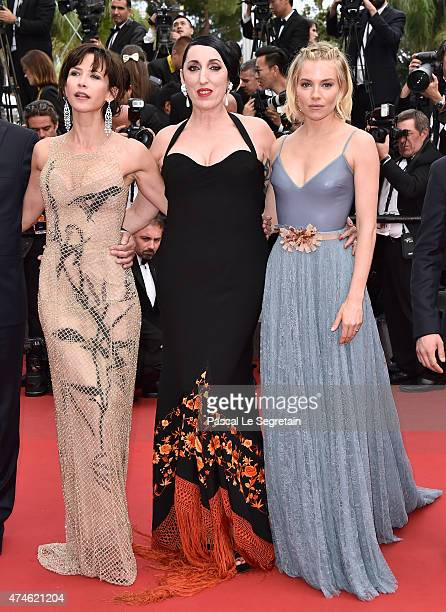 Jury members Sophie Marceau Rossy de Palma and Sienna Miller attend the closing ceremony and Premiere of 'La Glace Et Le Ciel' during the 68th annual...