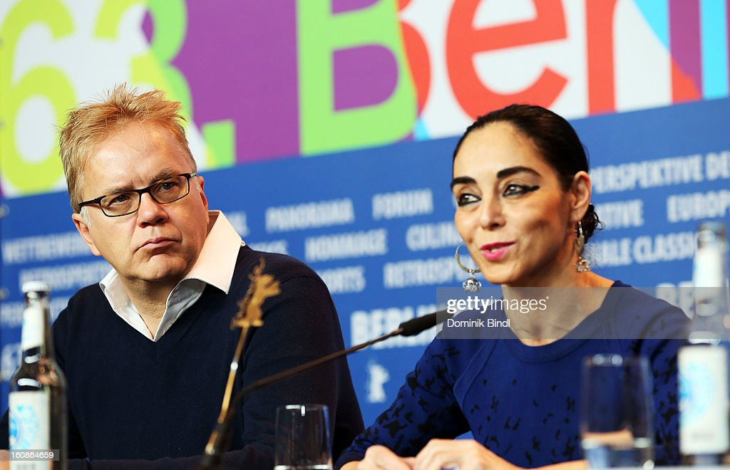 Jury members <a gi-track='captionPersonalityLinkClicked' href=/galleries/search?phrase=Tim+Robbins&family=editorial&specificpeople=182439 ng-click='$event.stopPropagation()'>Tim Robbins</a> and Shirin Nashat attend the International Jury Press Conference during the 63rd Berlinale International Film Festival at the Grand Hyatt on February 7, 2013 in Berlin, Germany.