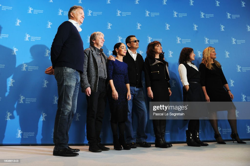 Jury members Tim Robbins, Andreas Dresen, Shirin Neshat, Jury President Wong Kar Wai and Jury members Susanne Bier, Athina Rachel Tsangari and Ellen Kuras attend the International Jury Photocall during the 63rd Berlinale International Film Festival at the Grand Hyatt on February 7, 2013 in Berlin, Germany.