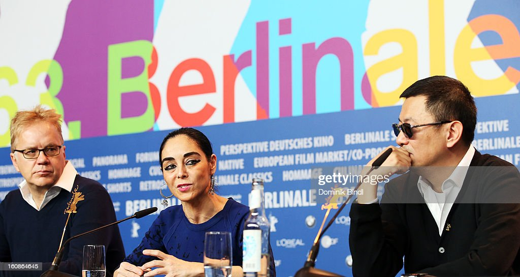 Jury members <a gi-track='captionPersonalityLinkClicked' href=/galleries/search?phrase=Tim+Robbins&family=editorial&specificpeople=182439 ng-click='$event.stopPropagation()'>Tim Robbins</a>, Shirin Nashat and jury president Wong Kar Wai attend the International Jury Press Conference during the 63rd Berlinale International Film Festival at the Grand Hyatt on February 7, 2013 in Berlin, Germany.